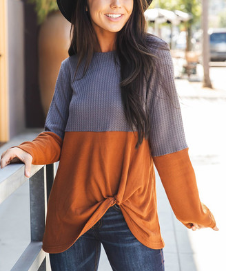 Tickled Teal Women's Tee Shirts Rust - Rust Color-Block Twist-Front Long Sleeve Tunic - Women