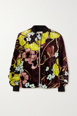 Dries Van Noten Quilted Floral-print Velvet Jacket - Bright green