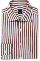 Beams F Brown Striped Cotton-Poplin Shirt