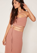 Missguided Petite exclusive Ribbed Wrap Crop Top Pink