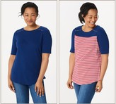 Factory Quacker Elbow-Sleeve Set of Two Knit Tops