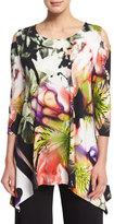 Caroline Rose Cold-Shoulder Alfresco-Print Tunic Top