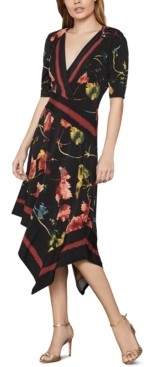 BCBGMAXAZRIA Printed Faux-Wrap Dress