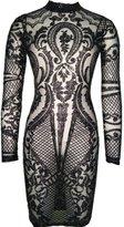 VIVOSKY Women Sequin Dress Geometric Tattoo Bandage Bodycon Club Dresses (S, )