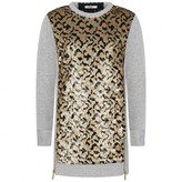 Relish RelishGirls Grey & Sequin Leopard Sweater Dress