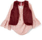 Beautees Blush & Burgundy Floral Peasant Tunic & Vest - Girls