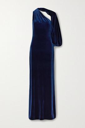 Monique Lhuillier One-sleeve Velvet Gown - Navy