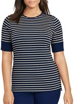 Lauren Ralph Lauren Plus Stripe Lace-Up Shoulder Top