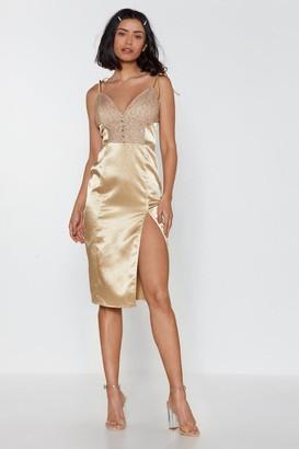 Nasty Gal Womens Let It Slip Lace Slip Dress - Caramel