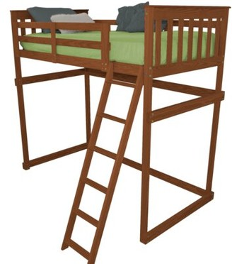 Zoomie Kids Swainsboro Loft Bed with Side Ladder Size: Twin, Bed Frame Color: Mike's Cherry Stain