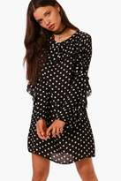Boohoo Betty Polka Dot Pleated Frill Shift Dress
