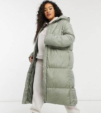 Threadbare Curve Jodie longline puffer coat in green