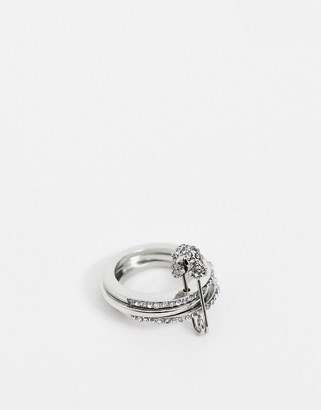 Asos Design DESIGN thumb ring with safety pin and crystal detail in silver tone