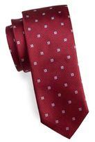 HUGO BOSS Square Print Textured Silk Tie