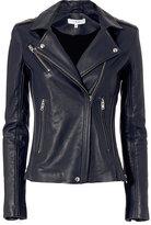 IRO Tara Leather Moto Jacket: Navy