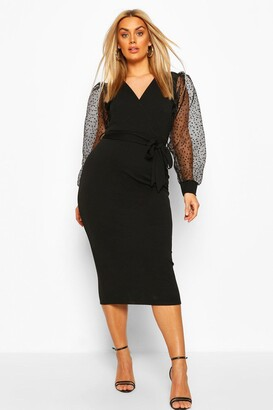 boohoo Plus Heart Organza Sleeve Midi Dress