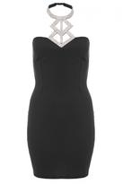 Quiz Black Diamante Halterneck Bodycon Dress