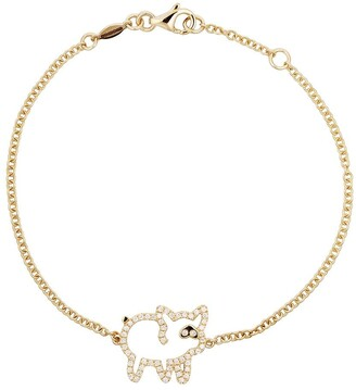 Kiki McDonough 18kt yellow gold Memories diamond pig bracelet