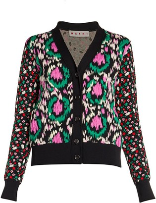 Marni Stretch Floral Jacquard Mixed Cardigan