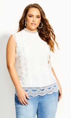 City Chic Lace Folly Top - ivory