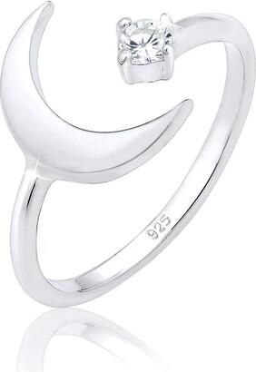 Elli Ring Crescent Astro Adjustable Zirconia 925 Sterling Silver