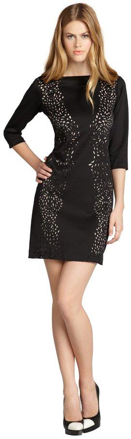 SD Collection Black Laser Cut Three Quarter Sleeve Dress