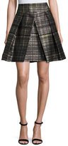 Milly Kayla Confetti-Check Pleated Mini Skirt, Black