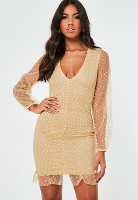 Missguided Camel Mesh Dobby Organza Ruched Mini Dress
