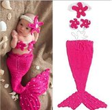 Fashion Queen Boy Girl Mermaid Costume Crochet Knit Photo Prop Baby Outfits
