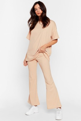 Nasty Gal Womens Together Again Oversized Tee and Flare Trousers Set - Beige - 10