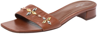 Louis Vuitton Brown Leather Embellished Open Toe Sandals Size 38.5