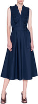 Akris Punto Plisse Cotton Midi A-Line Dress