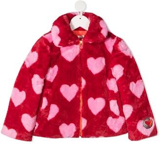 Billieblush Heart-Print Faux-Fur Coat