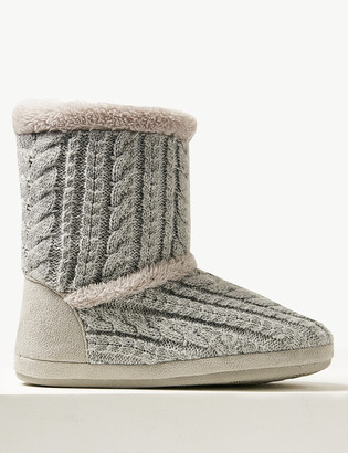 Marks and Spencer Cable Knit Slipper Boots with Memory Foam