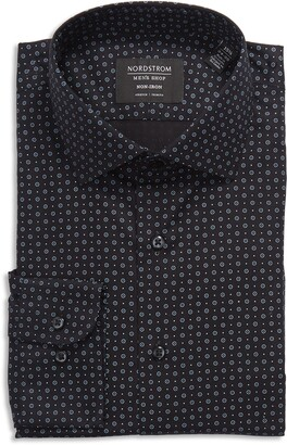 Nordstrom Trim Fit Neat Stretch Non-Iron Dress Shirt