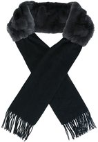 N.Peal fur fringed edge scarf