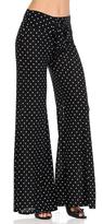 Celeste Black Polka Dot Tie-Waist Palazzo Pants - Plus