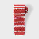 Paul Smith Men's Red Thin Stripe Knitted Silk Tie