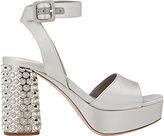 Miu Miu Women's Embellished-Heel Ankle-Strap Sandals-LIGHT GREY