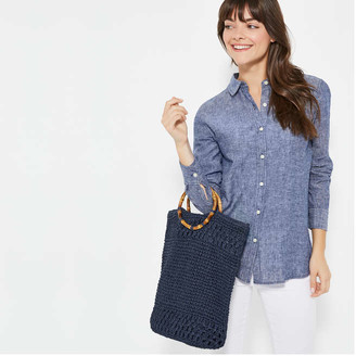 Joe Fresh Women's Bamboo Handle Tote, Blue (Size O/S)