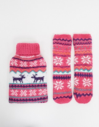 Asos Design DESIGN fairisle hot water bottle and socks-Pink