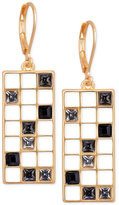 T Tahari Gold-Tone Scattered Crystal Grid Drop Earrings