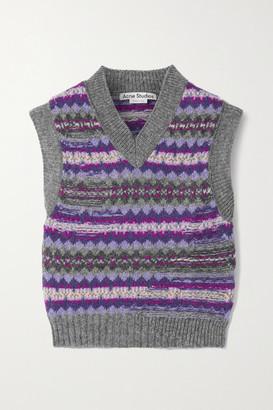 Acne Studios Cropped Intarsia Wool Sweater - Purple