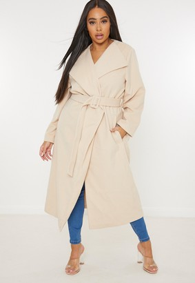 Missguided Plus Size Tan Covered Buckle Belted Formal Coat
