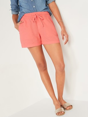 Old Navy High-Waisted Pull-On Linen-Blend Shorts for Women -- 4-inch inseam