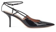 HUGO BOSS Heeled slingback pumps in patent and calf leather
