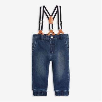 Joe Fresh Baby Boys' Suspender Joggers, Medium Wash (Size 6-12)