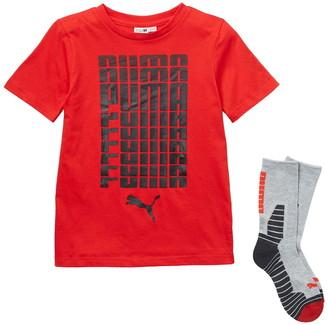 Puma Short Sleeve Logo Tee & Crew Socks Set