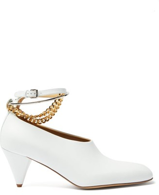 Jil Sander Anklet-chain Leather Cone-heel Pumps - White