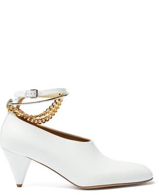 Jil Sander Chain-embellished Leather Pumps - White